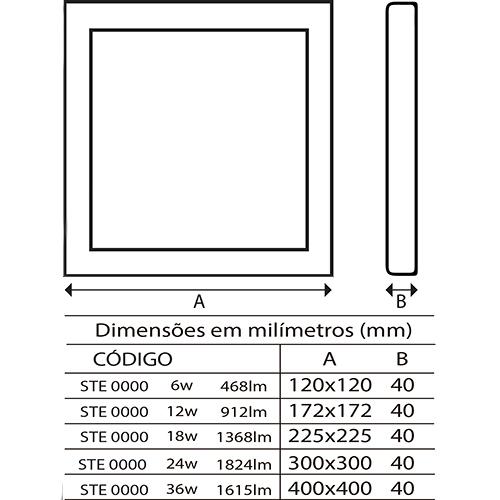 painel quadrado led embutir